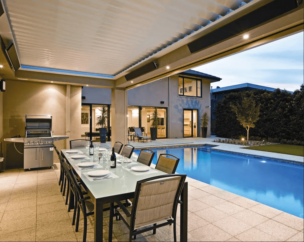 Infrared heater over swimming pool